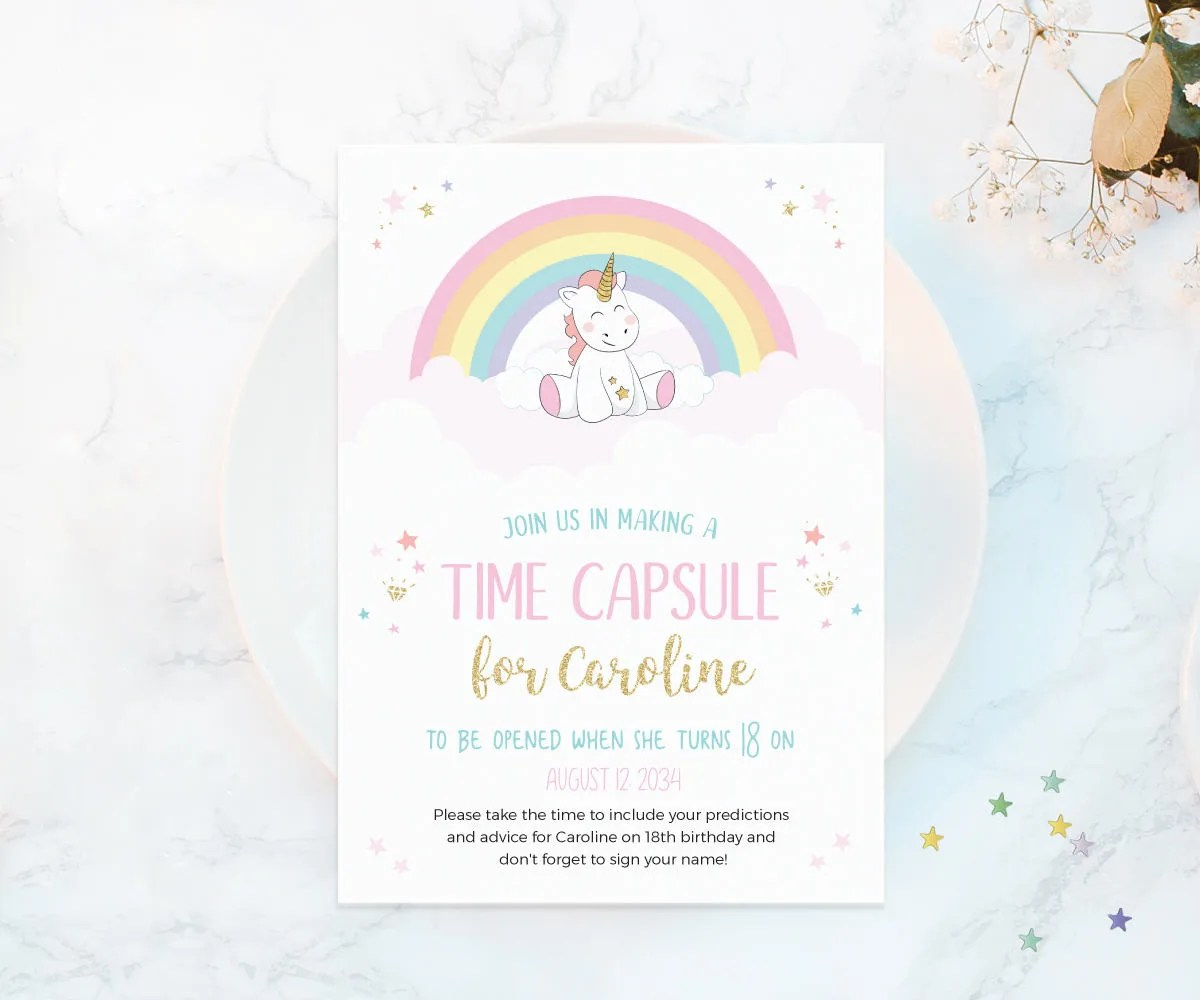 Unicorn Time Capsule First Birthday Time Capsule Printable