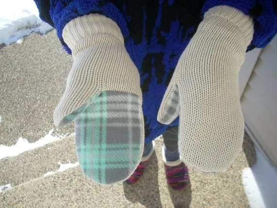 upcycled womens creme sweater lined mittens - FREE SHIPPING
