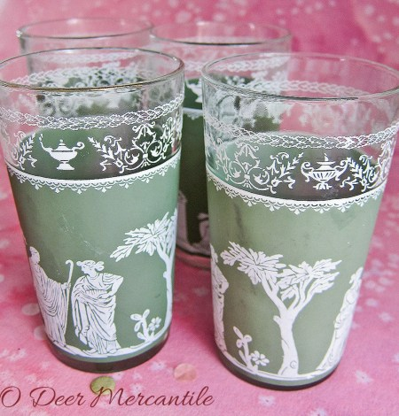 Set of Four Jeanette Hellenic Green Eight Ounce Tumblers: Roman-Greek Motif Jasperware Glasses