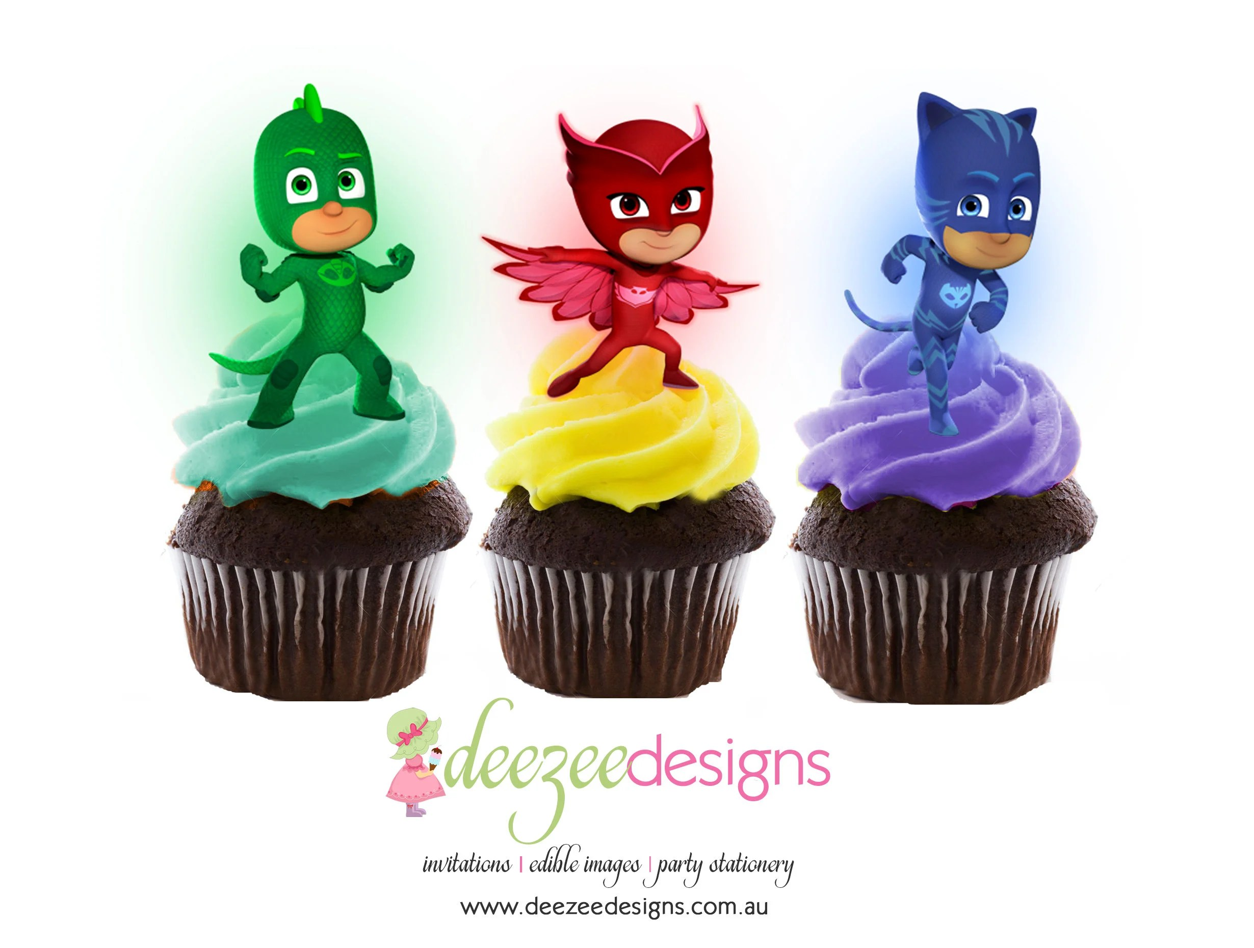Pj Masks Edible Wafer Stand Up Cupcake Toppers Set Of 16