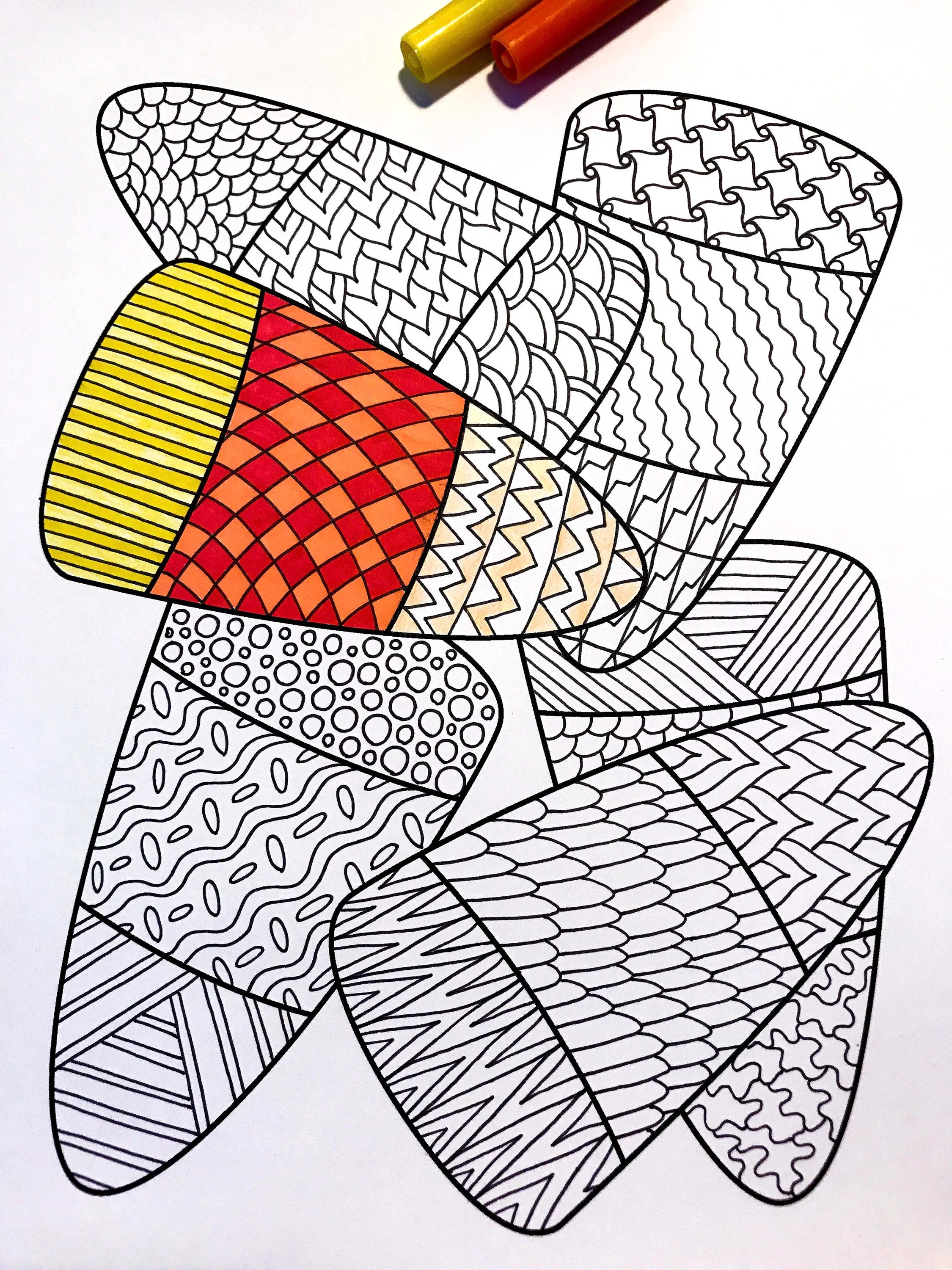 Candy Corn Zentangle Coloring Page