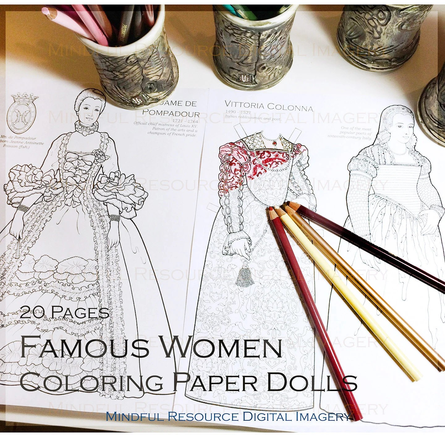 Famous Women In History Coloring Book Printable Vintage Paper