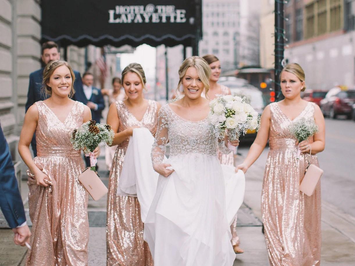 Rose Gold Bridesmaid Dress / 'Rosie' / Sequin