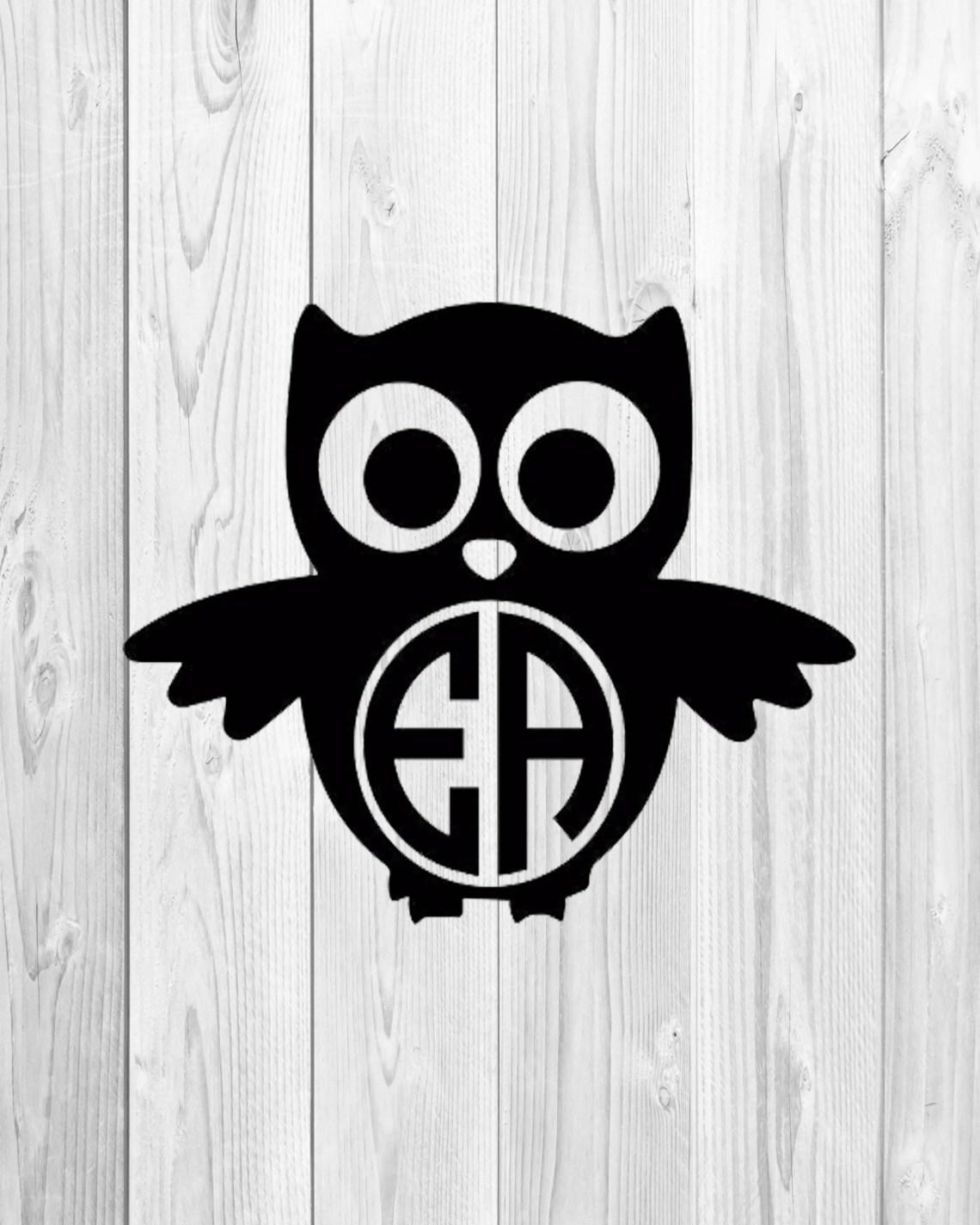 Download Owl Monogram Svg, Owl Svg, Monogram Frame Svg, Silhouette ...