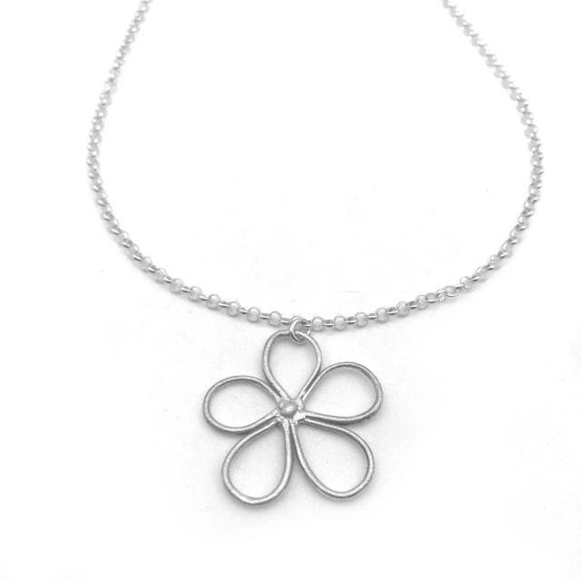 Silver Flower Necklace   ...