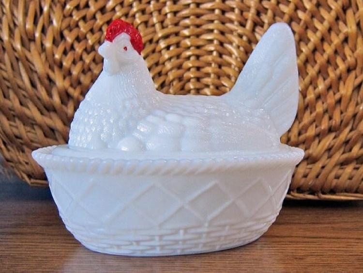 Westmoreland Milk Glass Chicken: Five Inch Hen on Basket-weave Nest Covered Dish