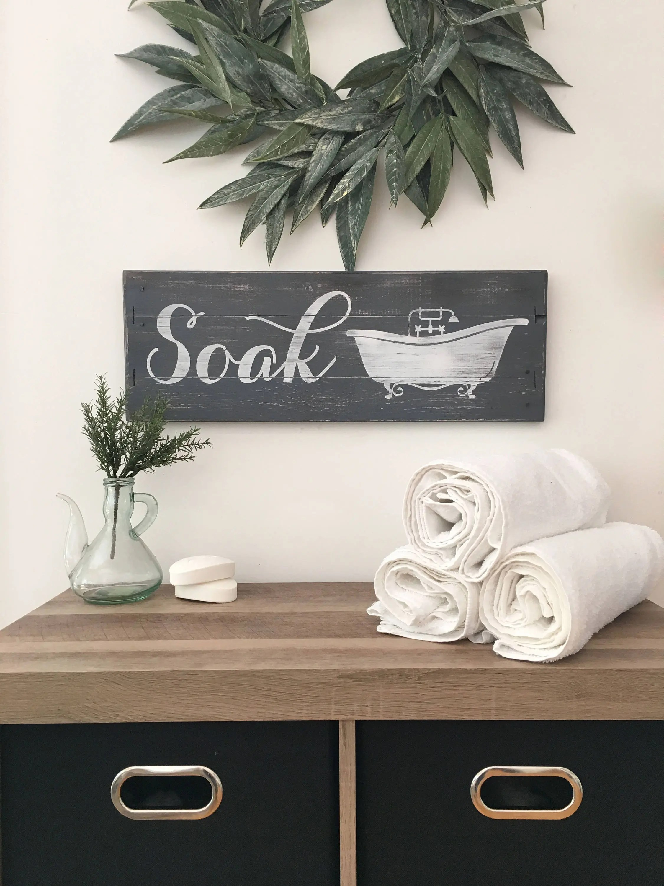 RUSTIC BATHROOM DECOR Soak Sign Farmhouse Bathroom Wood
