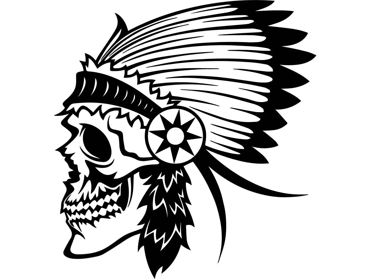 Indian Skull 2 Native American Warrior Headdress Feather