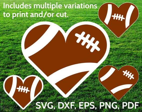 Download Football Heart SVG designs Football Love SVG cut files for