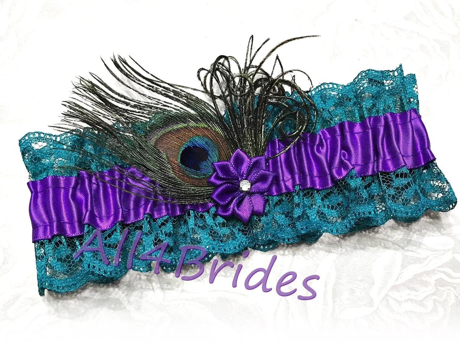 Peacock Wedding Bridal Leg Garter Purple And Teal Lace
