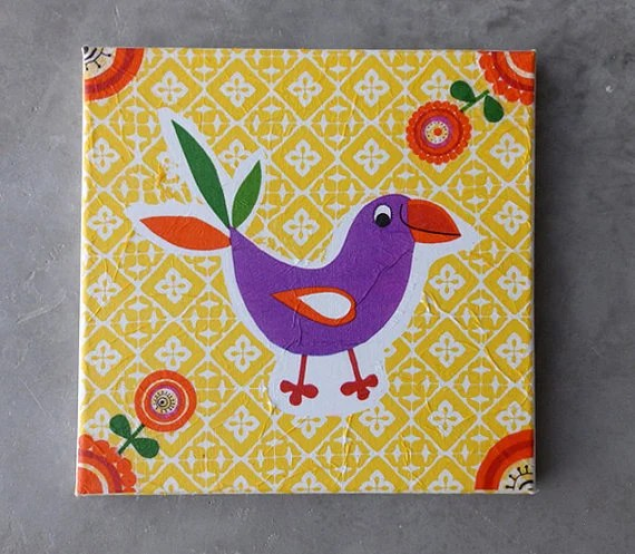 Decoupage canvas tile for your child's room with a funny bird