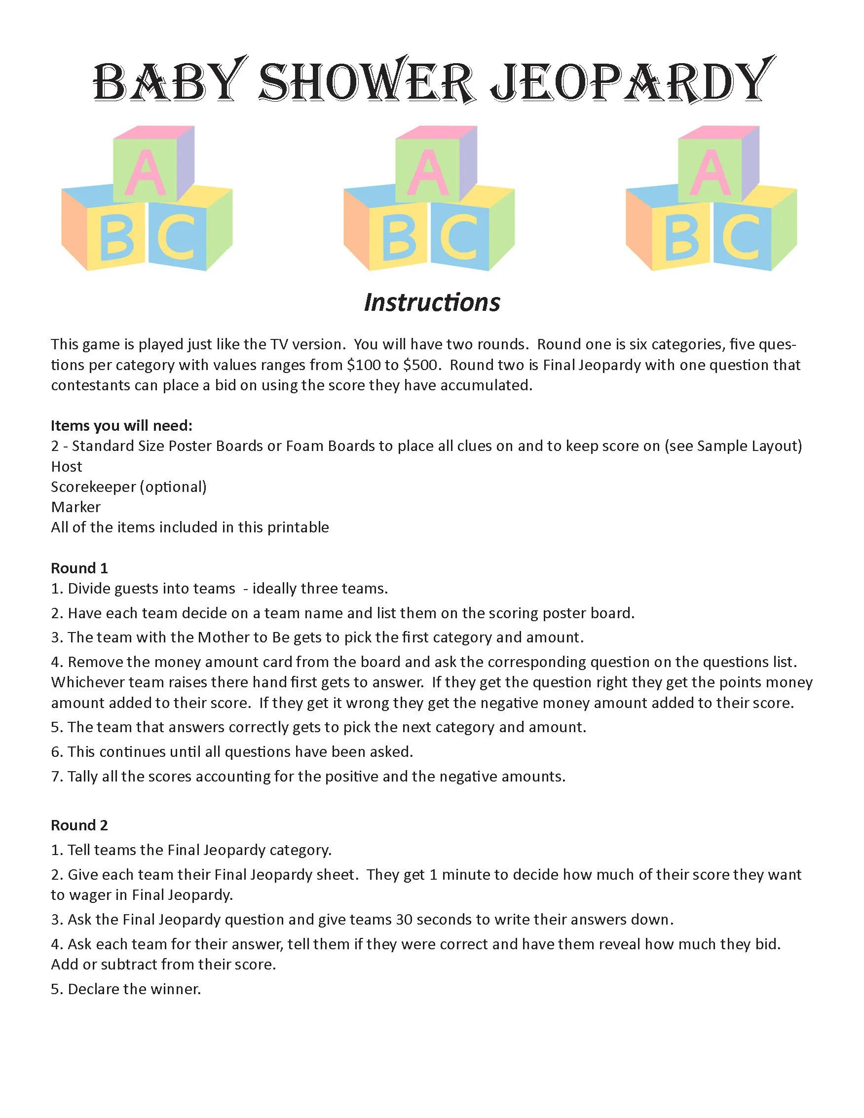 Baby Shower Jeopardy Digital Download Trivia Game Baby