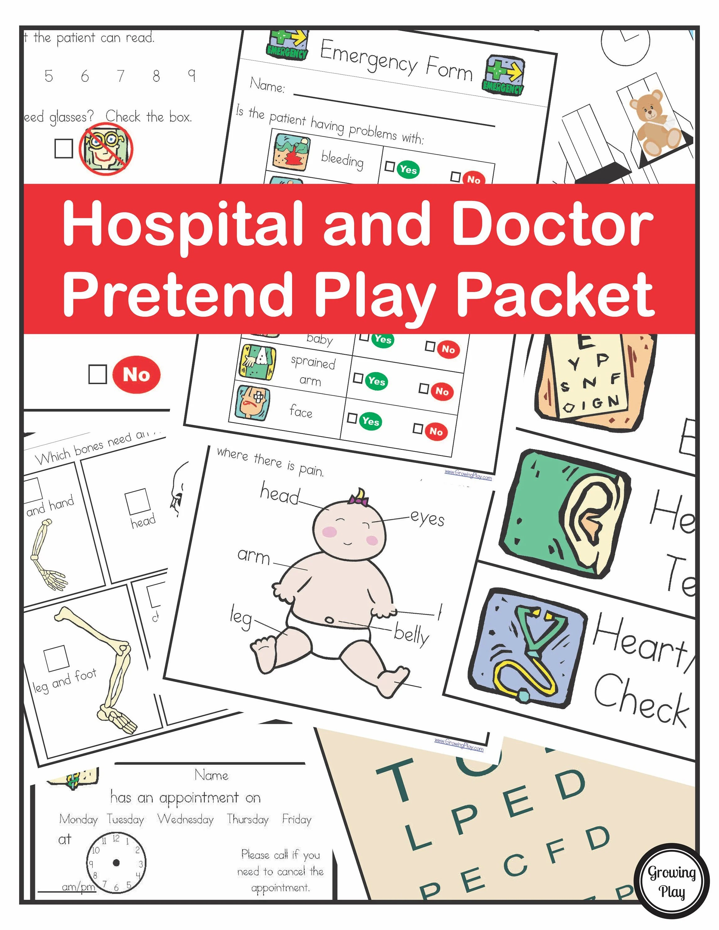 Hospital And Doctor Pretend Play Doctor Printables Playing