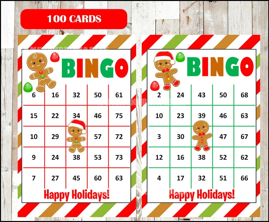 Printable 100 Christmas Bingo Cards Printable Gingerbread