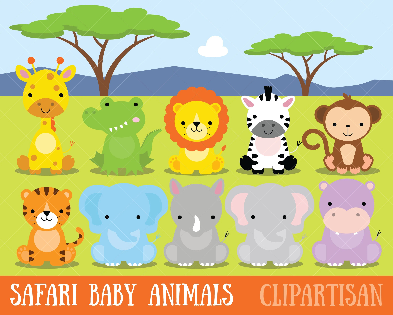 Safari Baby Animals Clipart Jungle Animals Clipart Zoo