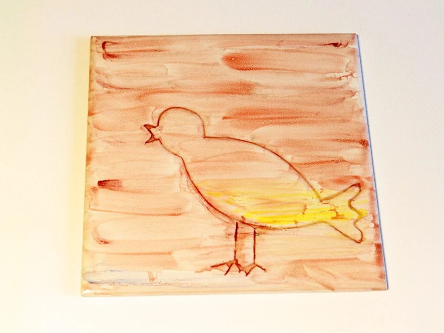 Contemporary decorative tile with bird singing, bird watching and gardening lovers, READY TO SHIP