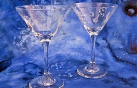 Pretty Pair of Libbey Martini Glasses: Tall Retro Etched Olive Cocktail Motif Stemware