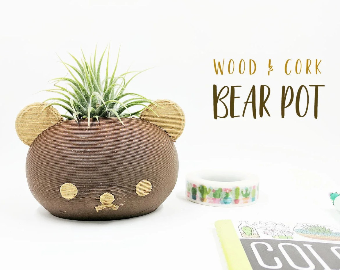 Wood Bear Pot, Teddy Bear...
