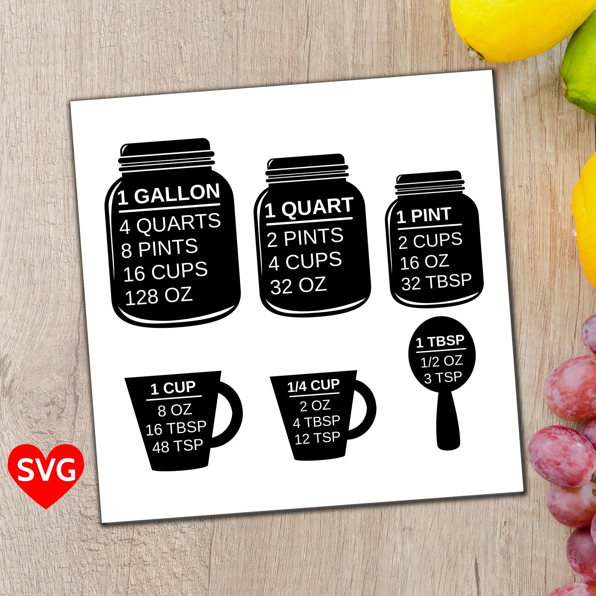 Measuring Cups Svg File A Printable Kitchen Conversion