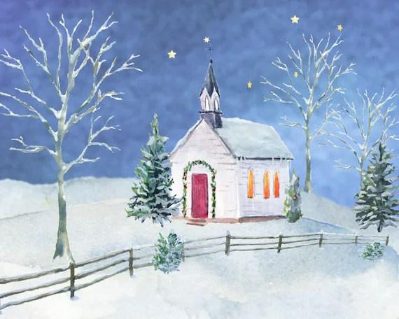 Winter Church Watercolor Clip Art Pine Trees Snow