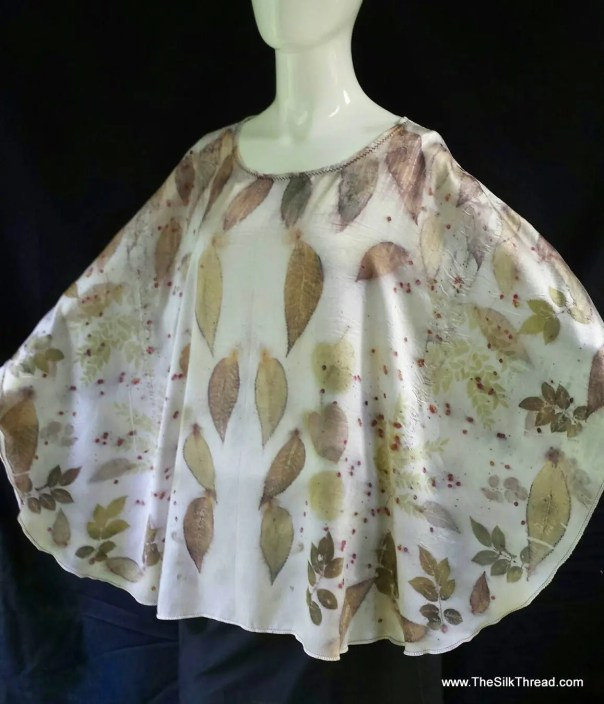 Satin Silk Poncho, Tunic, Shrug, EcoPrinted Organic Leaf Designs By Artist,Luxury Silk,Nature's Colors, Sustainable Eco Fashions, Plus size