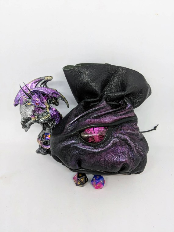 Black Leather Dice Bag With a Stunning Hand Painted Cabochon Eye ,For Up To 140 Dice,