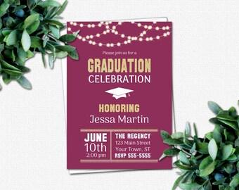 PRINTABLE Graduation Invitations - DIY High School or College Graduation Party Invites | School Colors | Rustic Lights