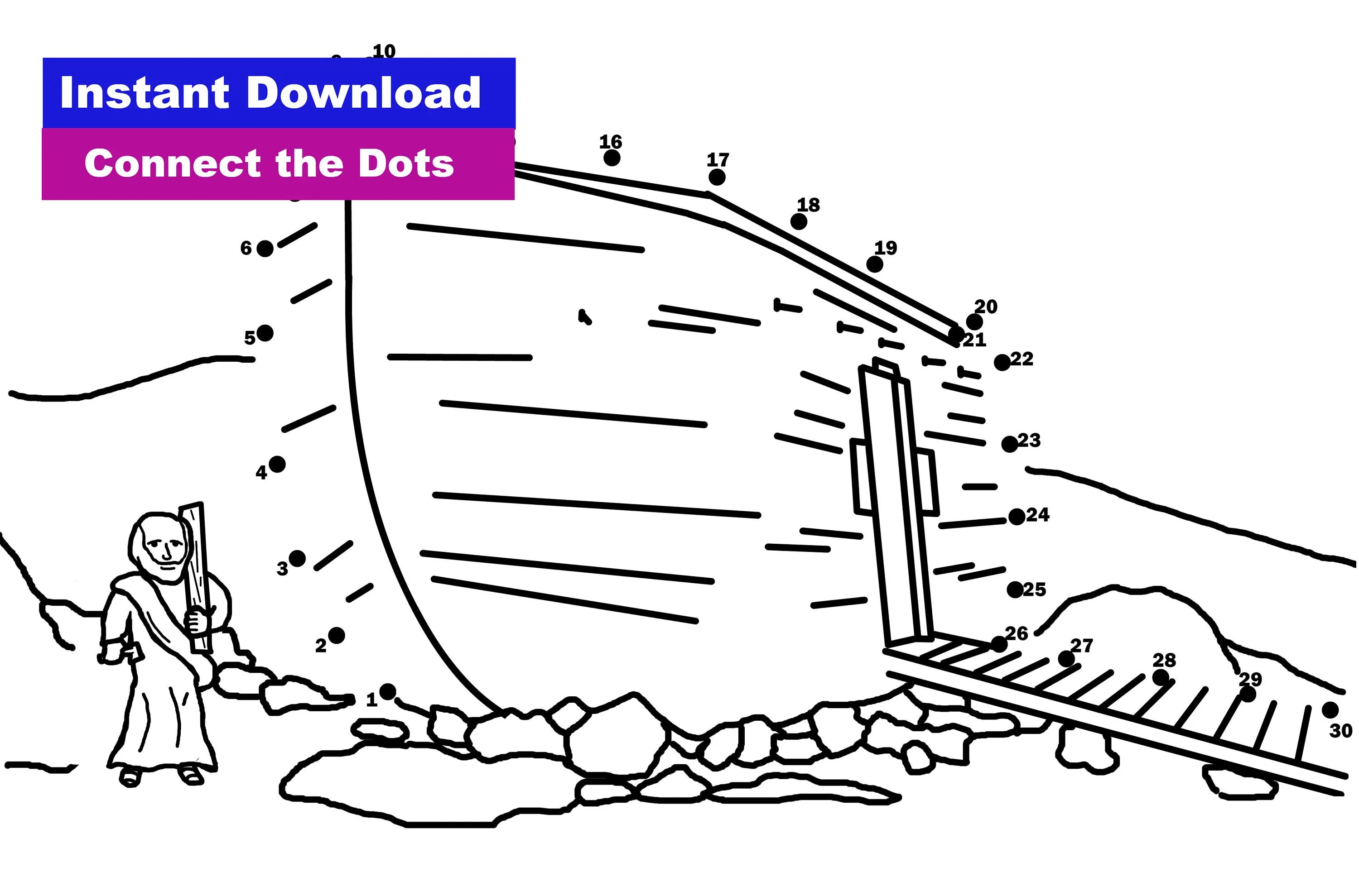 Noah S Ark Connect The Dots Coloring Sheet