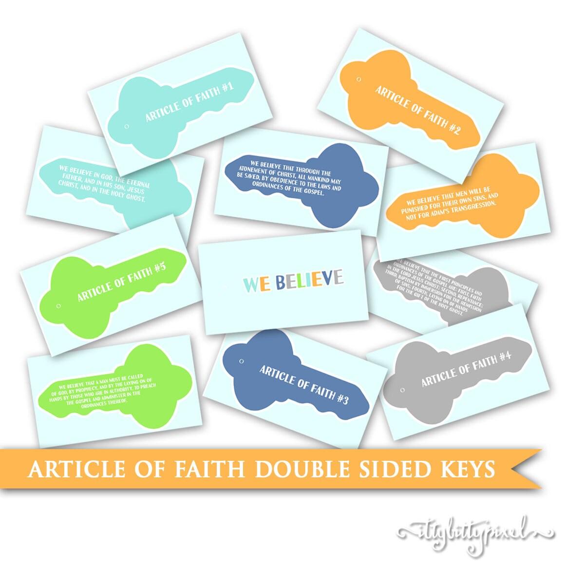 Articles Of Faith Keys Lds Printable Digital Memorizing Help