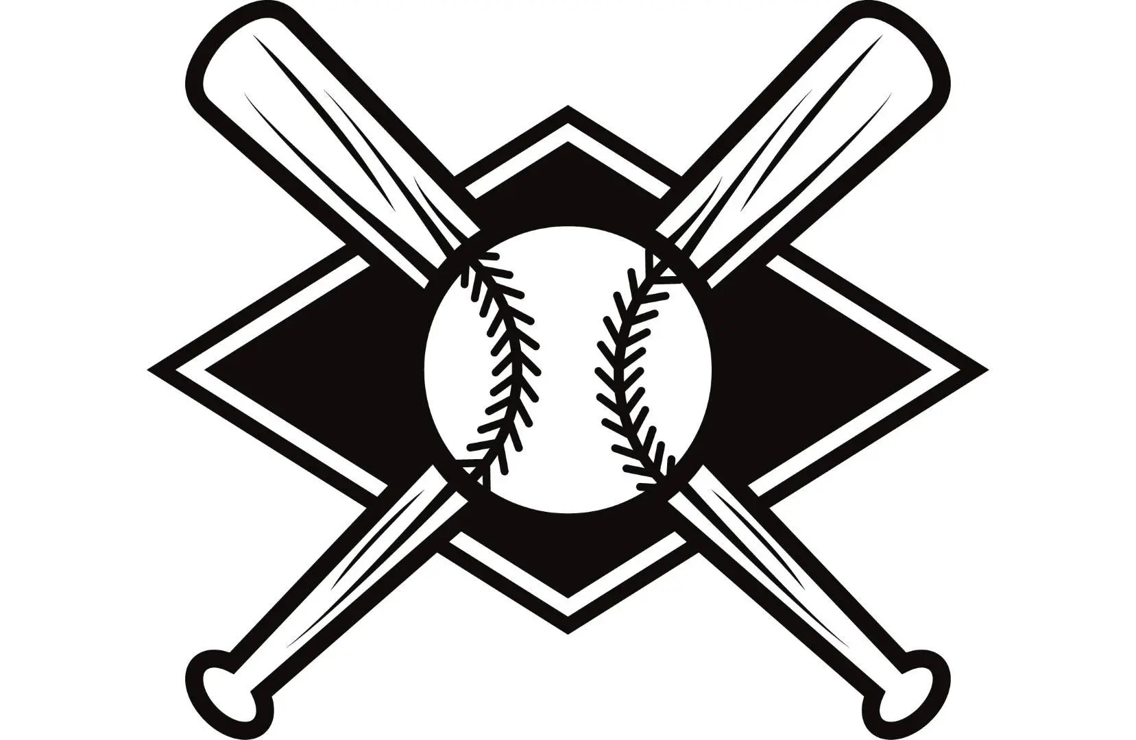 Baseball Logo 4 Bats Crossed Ball Diamond League Equipment