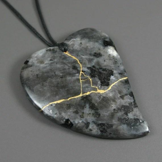 Kintsugi (kintsukuroi) blue labradorite stone heart pendant with gold repair on black cotton cord - OOAK