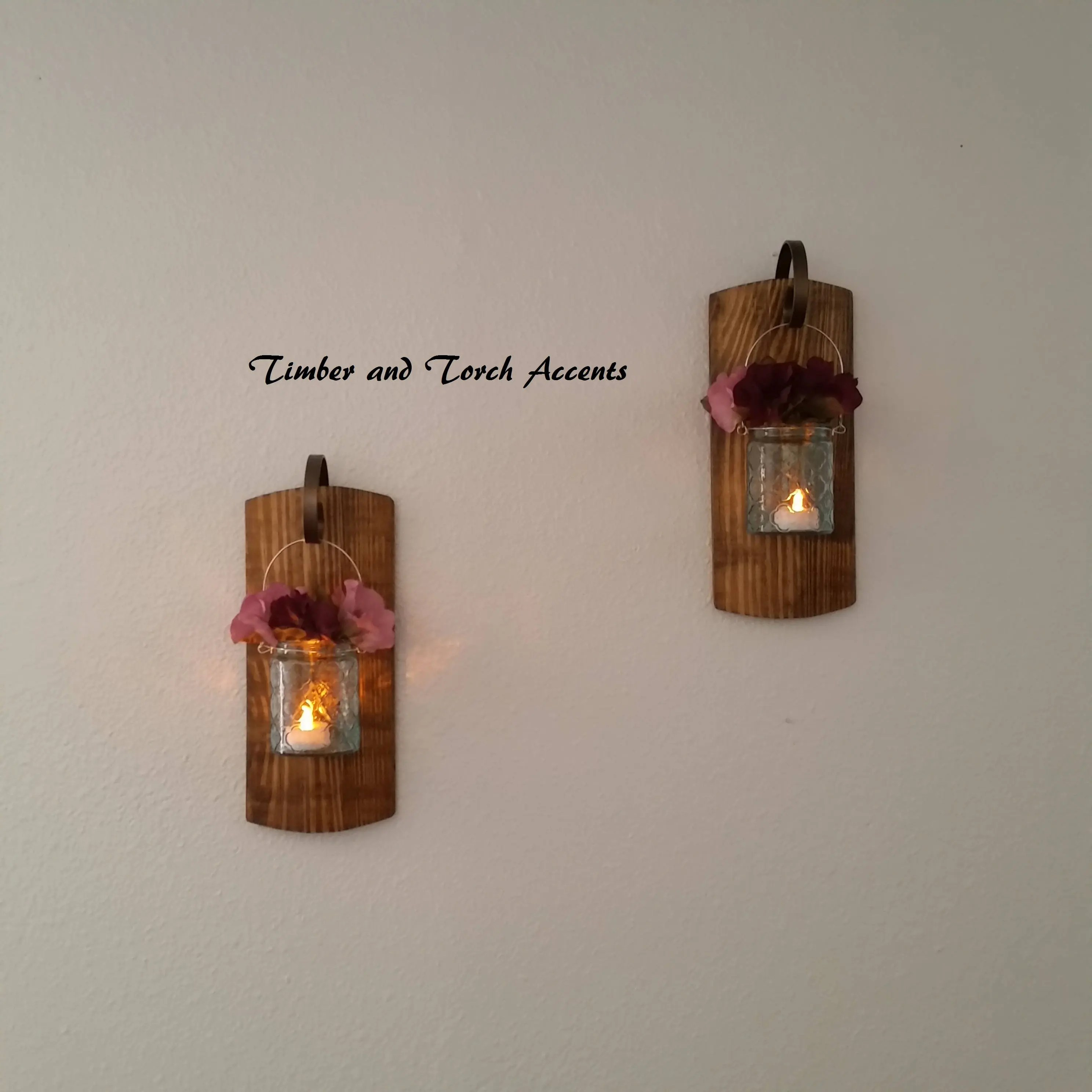 Wooden wall sconce Wood candle holder Primitive country on Wood Wall Sconces id=95888