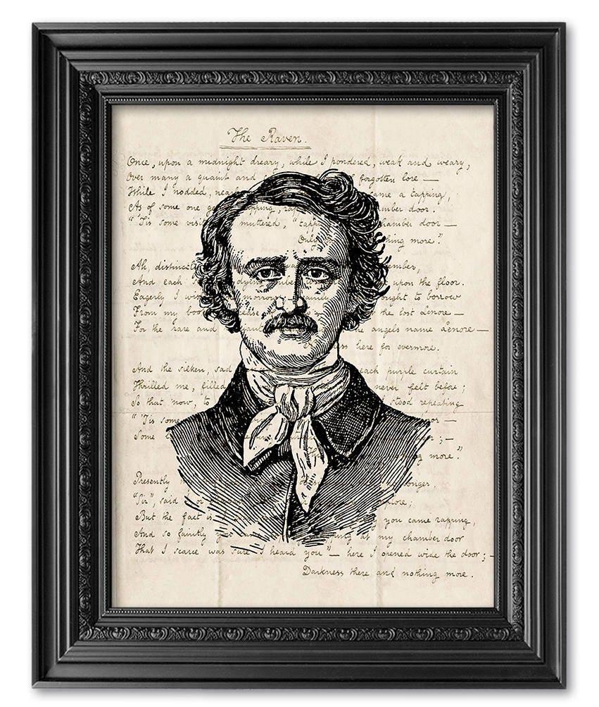Edgar Allan Poe Art Print The Raven Poem Original
