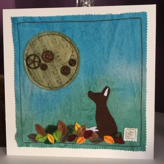 Moon gazey fox mixed media picture