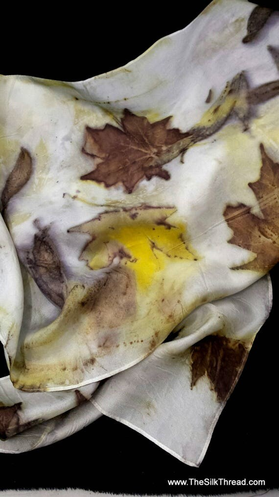"""Large Yellow Silk Scarf, wrap, hajib, ecoprinted with maples & jonquils by artist, sustainable slow fashion art, 14""""x72"""" 125E Free USA ship"""
