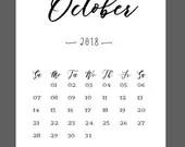 October Calendar 2018 Pri...