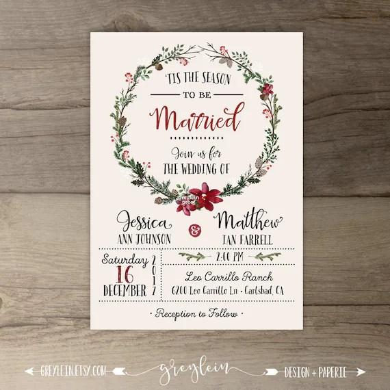 Winter Wedding Invitations Wreath Tis The Season To