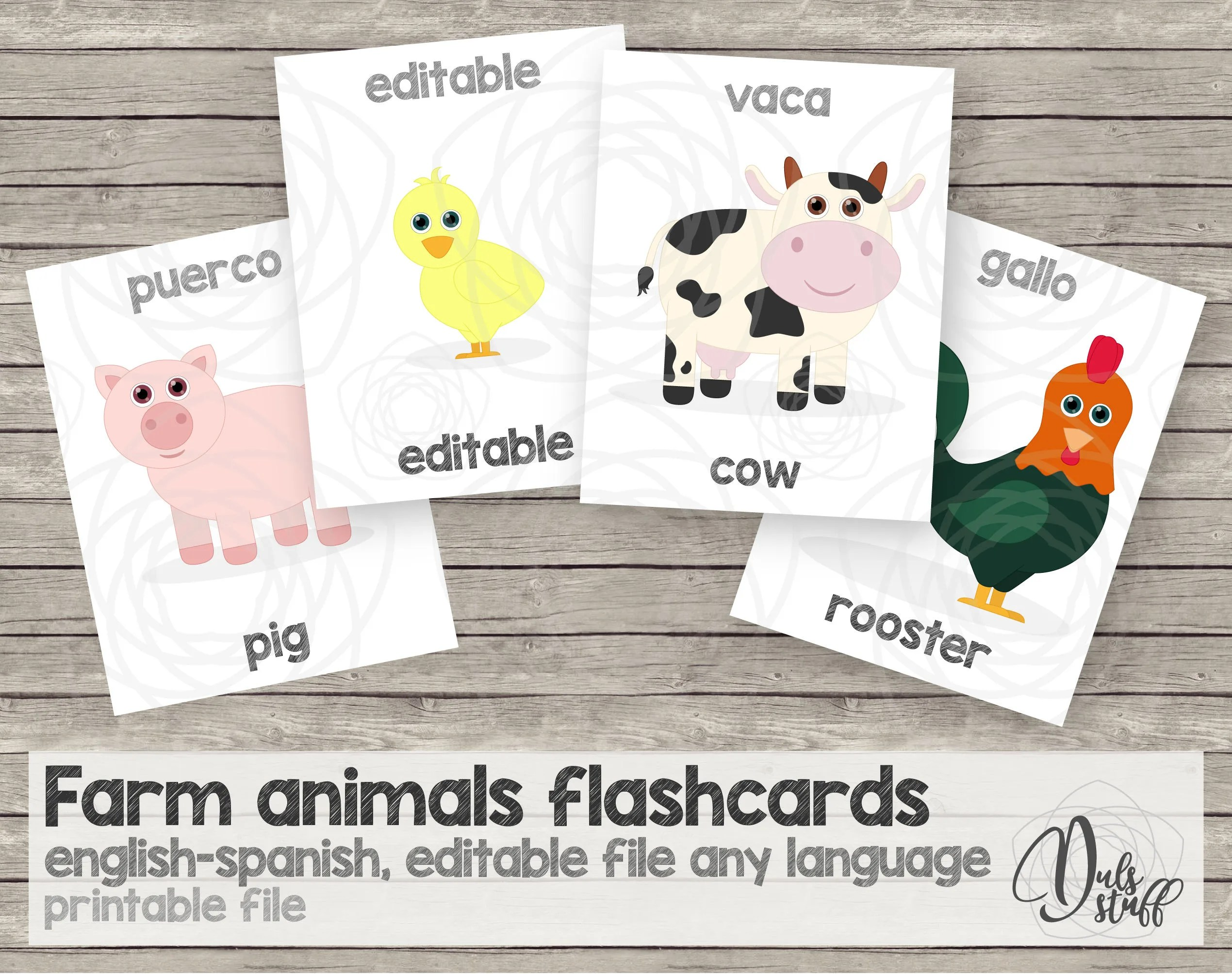 Printable Kids Farm Animals Flash Cards English And Spanish