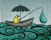 8x10 illustration print: Fishing in Oregon (fisherman with umbrella in boat on the ocean in the rain)