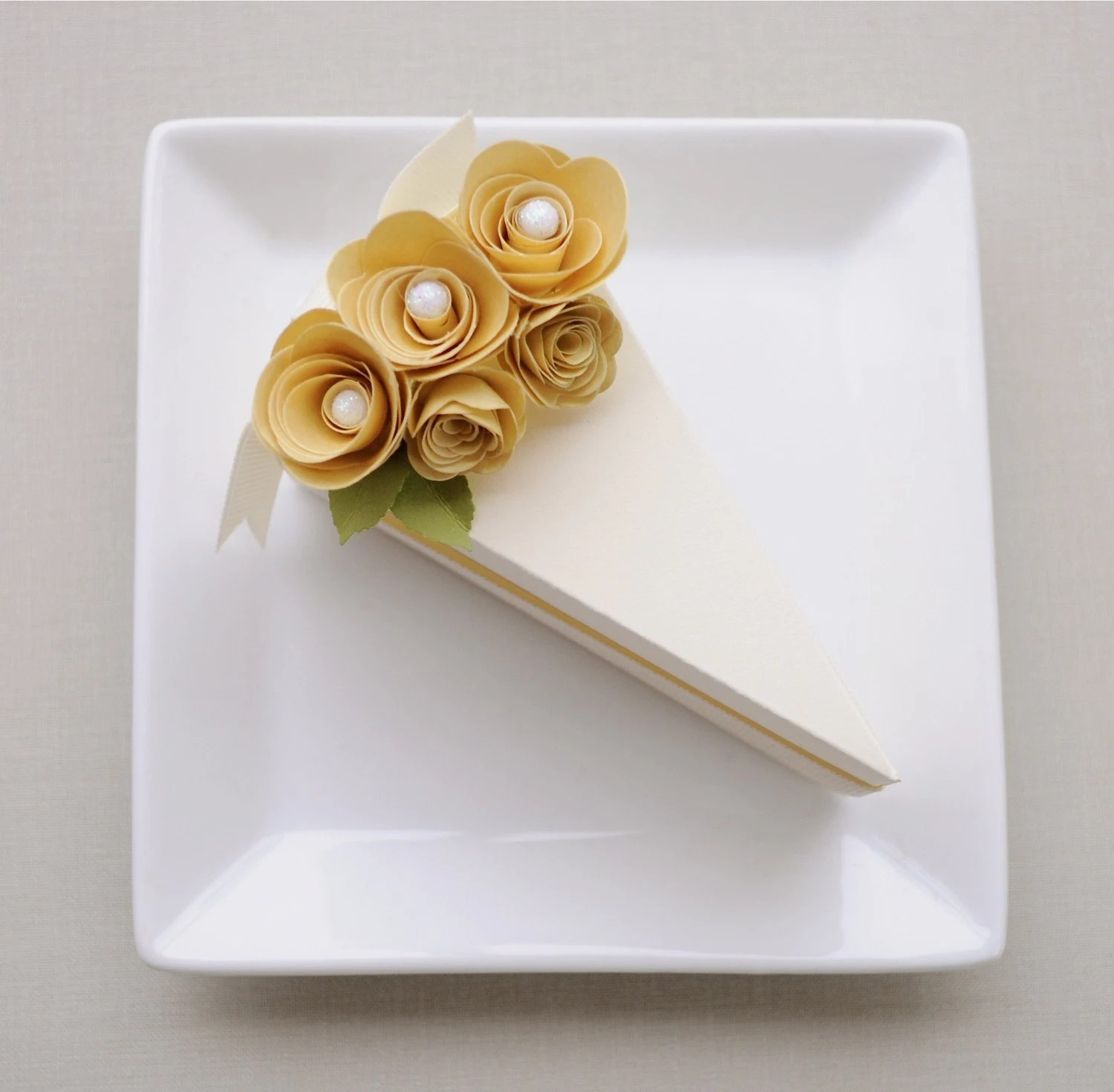 Creamy cake slice favor box with gold flowers (1) - wedding, bridal shower, baby shower, birthday - imeondesign