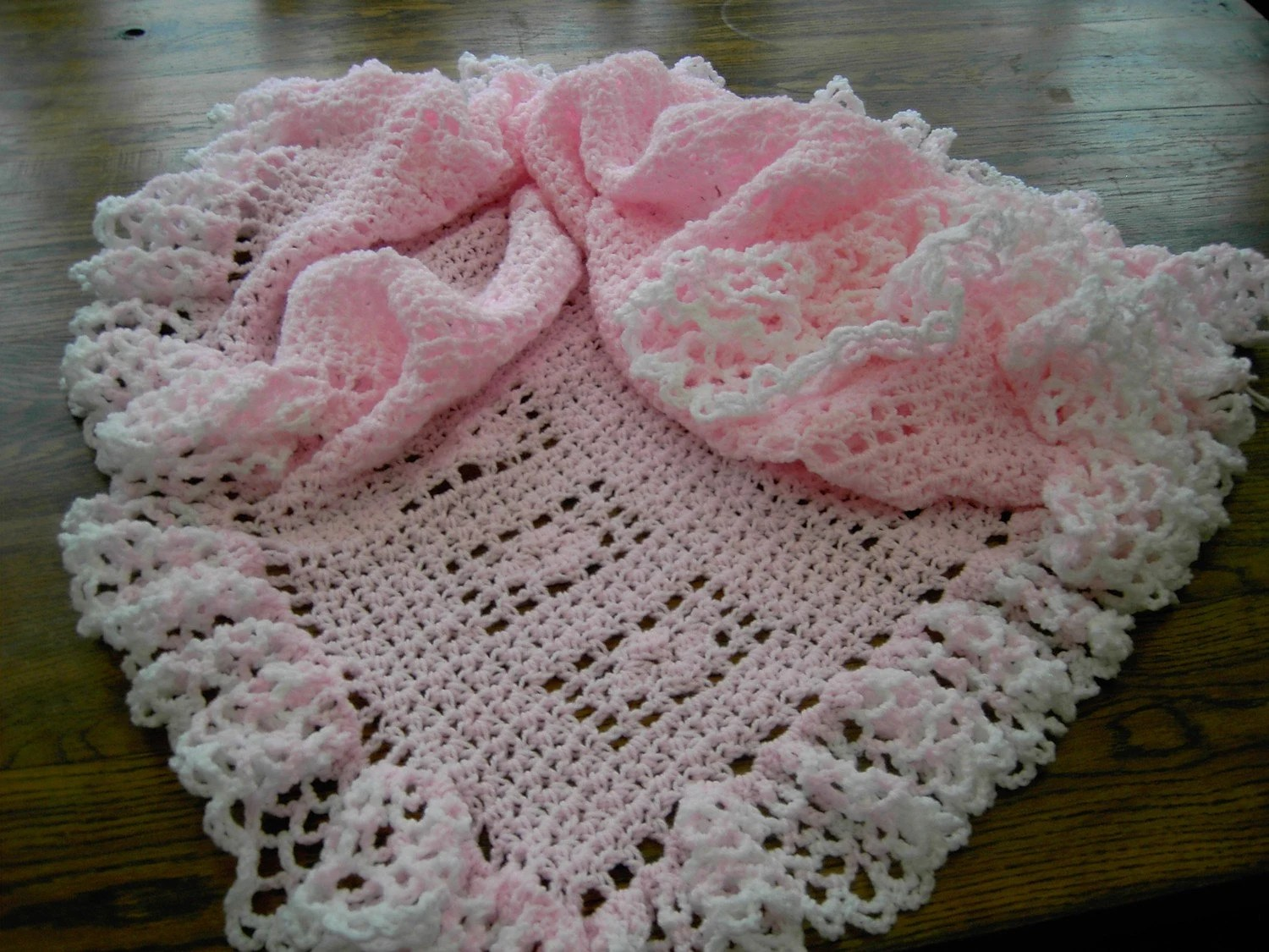 New handmade pink lace style crochet blanket with full white and pink delicate edge  450