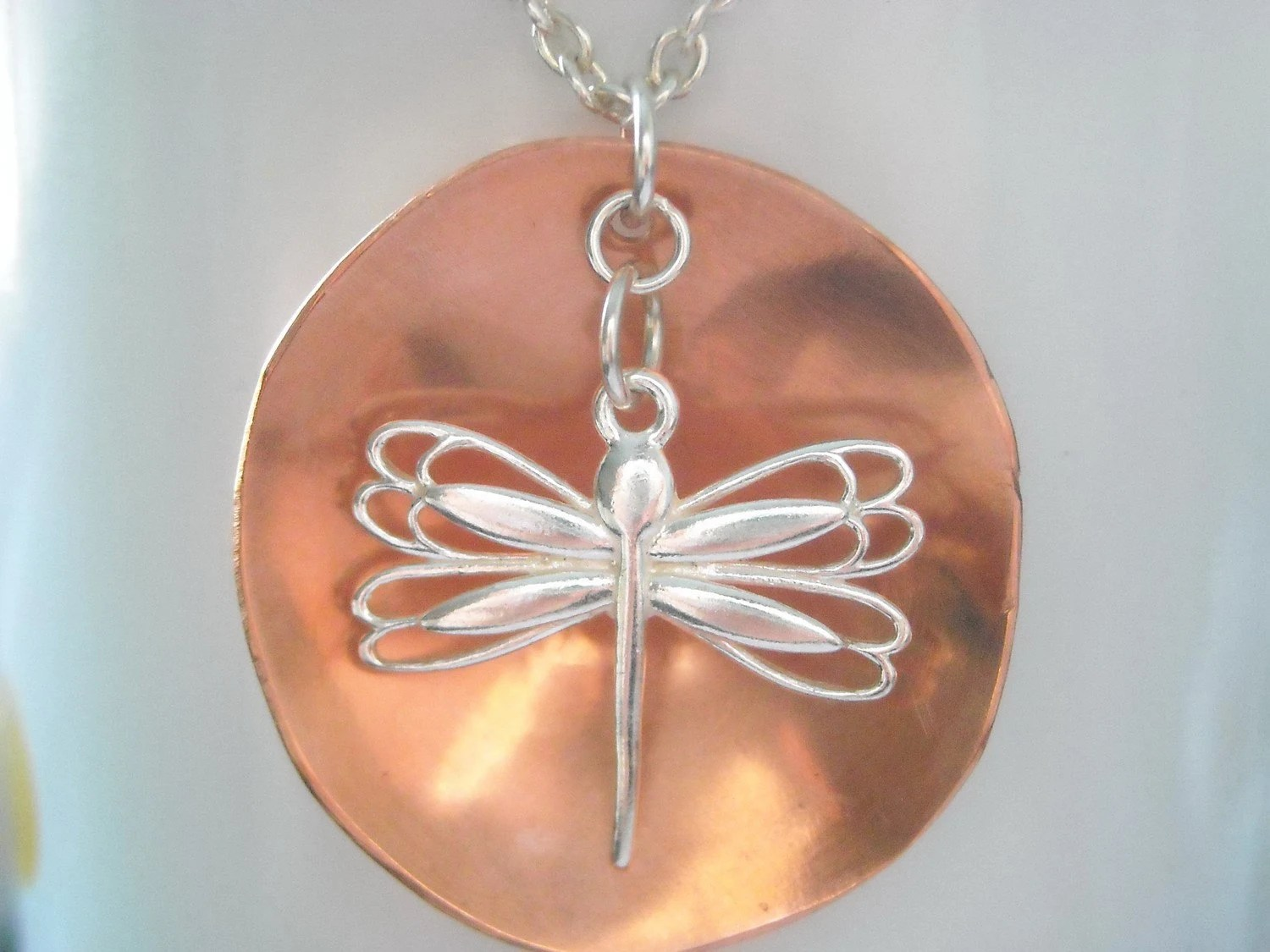 Copper Pendant, Handmade Copper Jewellery, Sterling Silver Necklace, Sterling Dragonfly
