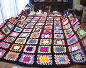 Crochet Blanket Handmade -  Made in tradition granny multi colour style with black border CUDDLE BLANKET (nannycheryl original)  688