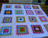 CROCHET BLANKET Handmade-  Made in tradition granny multi colour style with white border (nannycheryl original)  653