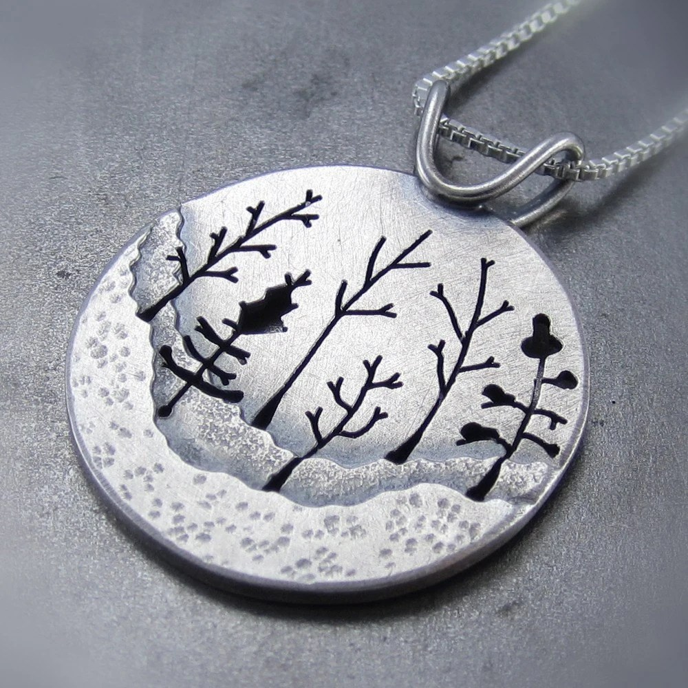 Woodland Forest Silver Tree Pendant no.1