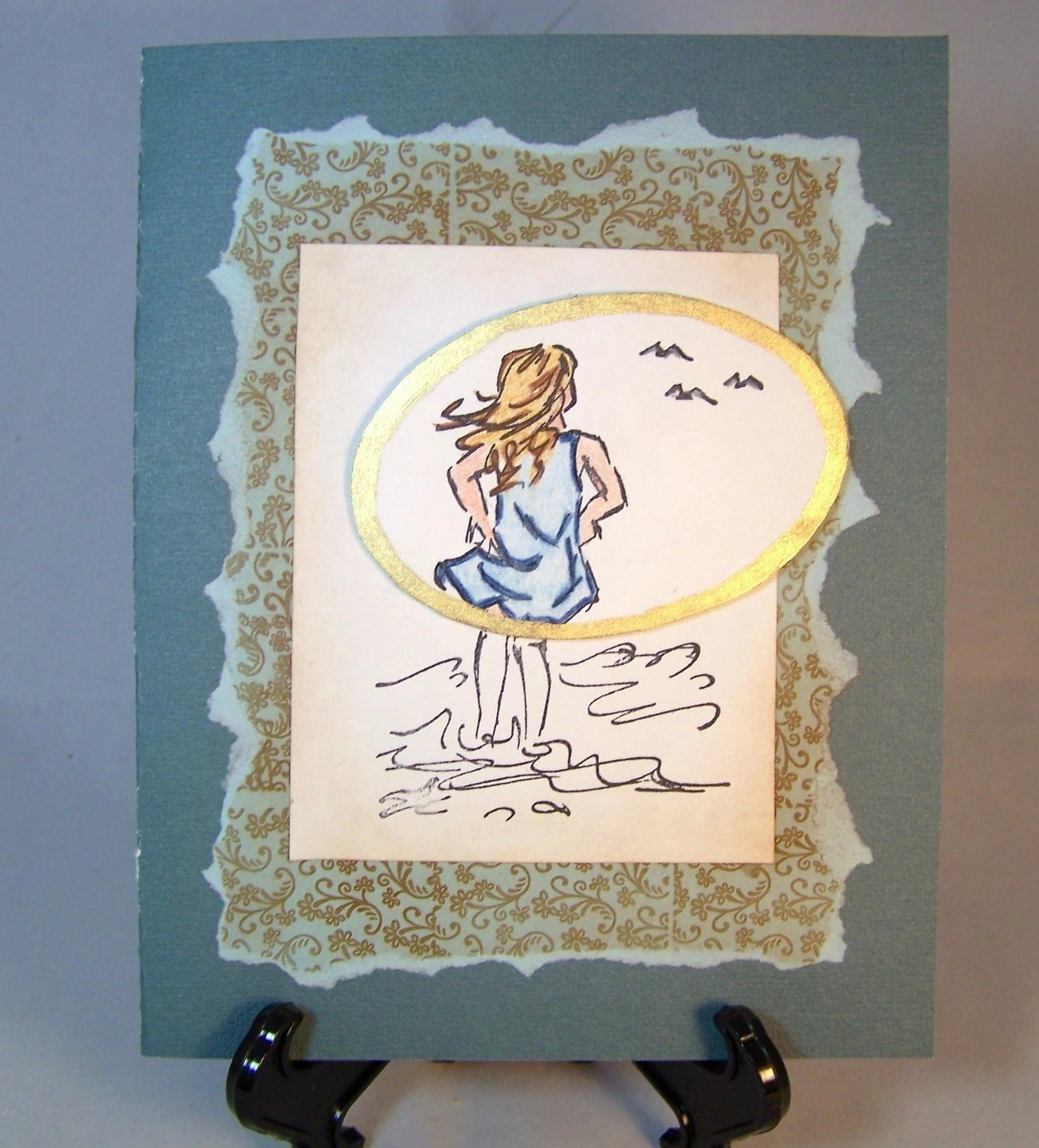 Blank Card - Girl in Water - Personalize with Choice of Greeting