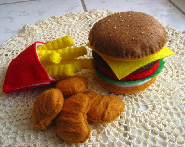 Felt Food Hamburger, french fries & chicken nuggets set eco friendly childrens pretend play food for toy kitchen - CreationByM