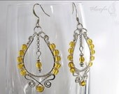 Solar energy- Czech glass beads and silver plated wire earrings