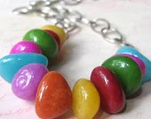 Necklace rainbow stones colorful bead necklace with chain Carnival