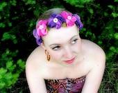 Pink purple flower headband floral head band
